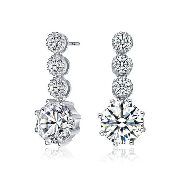 b0de994c91a9 Collette Z Sterling Silver with Rhodium Plated Clear Round Cubic Zirconia  Tier Drop Earrings