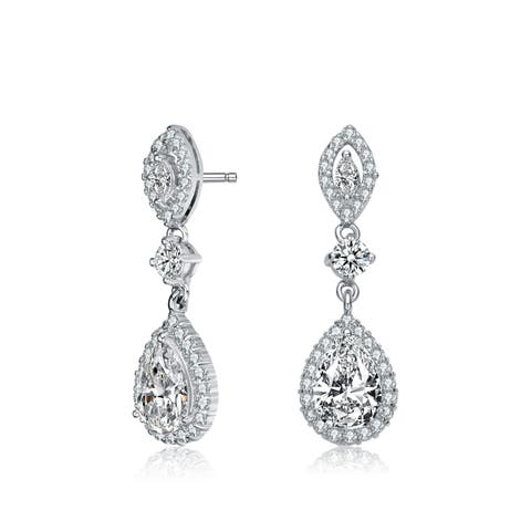 07a2b503b Collette Z Sterling Silver with Rhodium Plated Clear Pear with Round and  Marquise Cubic Zirconia Accent