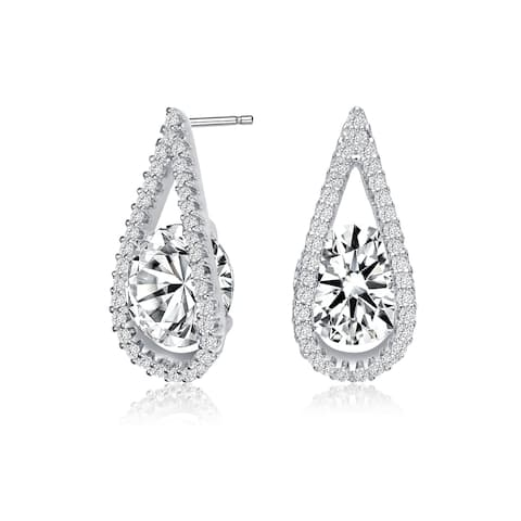 Collette Z Sterling Silver with Rhodium Plated Clear Round Cubic Zirconia Pear Frame Halo Earrings