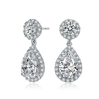 Link to Collette Z Sterling Silver with Rhodium Plated Clear Pear and Round Cubic Zirconia with Halo Drop Earrings Similar Items in Earrings