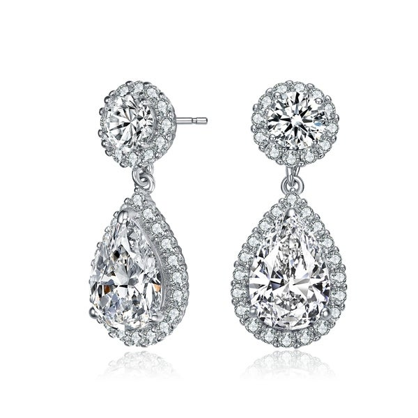 Collette Z Sterling Silver with Rhodium Plated Clear Pear and Round Cubic Zirconia with Halo Drop Earrings. Opens flyout.