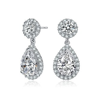 Collette Z Sterling Silver with Rhodium Plated Clear Pear and Round Cubic Zirconia with Halo Drop Earrings