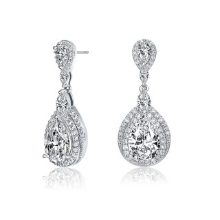 Collette Z Sterling Silver with Rhodium Plated Clear Pear with Marquise and Round Cubic Zirconia Double Halo Dangle Earrings