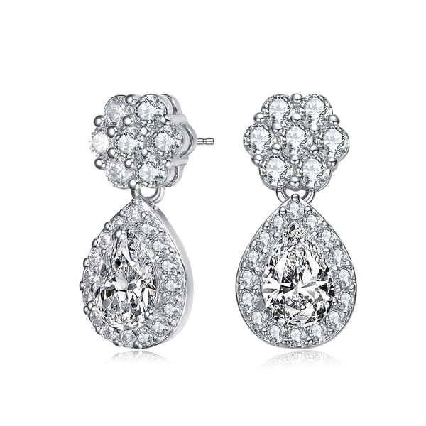 Collette Z Sterling Silver with Rhodium Plated Clear Pear and Round Cubic Zirconia Halo with Flower Post Drop Earrings. Opens flyout.