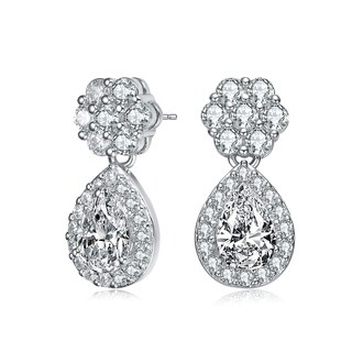 Collette Z Sterling Silver with Rhodium Plated Clear Pear and Round Cubic Zirconia Halo with Flower Post Drop Earrings