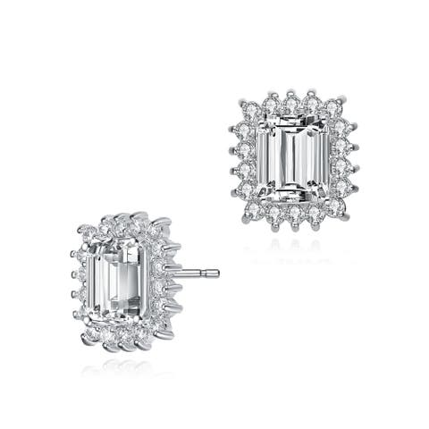 Collette Z Sterling Silver with Rhodium Plated Clear Emerald and Round Cubic Zirconia Halo Stud Earrings