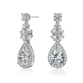 Collette Z Sterling Silver with Rhodium Plated Clear Pear with Round and Oval Cubic Zirconia Accent Dangle Earrings