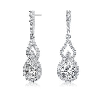 Link to Collette Z Sterling Silver with Rhodium Plated Clear Pear and Round Cubic Zirconia Halo with Open Pear Drop Earrings Similar Items in Earrings