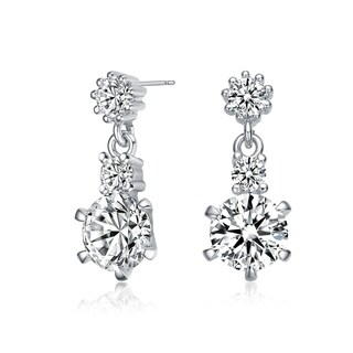 Collette Z Sterling Silver with Rhodium Plated Clear Round Cubic Zirconia Three-Stone Drop Earrings