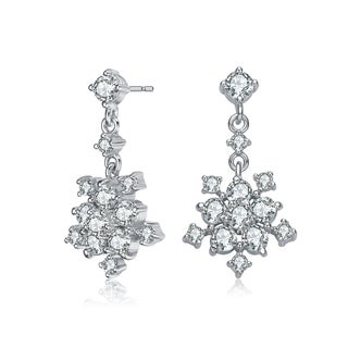 Collette Z Sterling Silver with Rhodium Plated Clear Round Cubic Zirconia Cluster Flower Style Drop Earrings