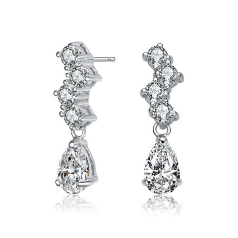 Collette Z Sterling Silver with Rhodium Plated Clear Pear and Round Cubic Zirconia ZigZag Drop Earrings