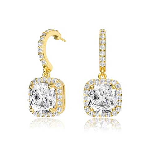 Collette Z Sterling Silver with Gold Plated Clear Cushion with Round Cubic Zirconia Halo Drop Earrings