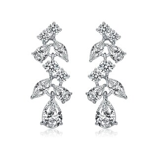 Collette Z Sterling Silver with Rhodium Plated Clear Pear with Marquise and Round Cubic Zirconia Accent Dangle Earrings