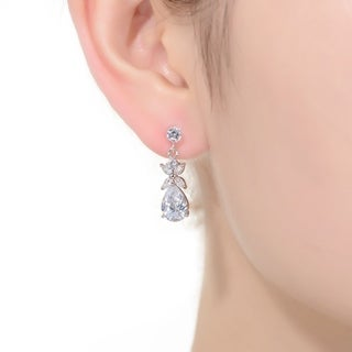 Collette Z Sterling Silver with Rhodium Plated Clear Pear with Marquise and Round Cubic Zirconia Cluster Accent Drop Earrings