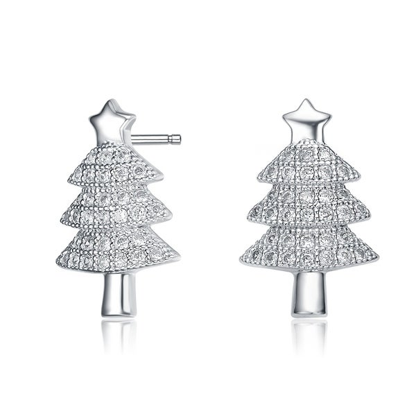 b7d4dcbf4 Collette Z Sterling Silver with Rhodium Plated Clear Round Cubic Zirconia  Pave Christmas Tree Earrings