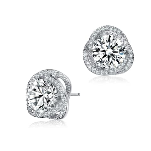 Collette Z Sterling Silver with Rhodium Plated Clear Round Cubic Zirconia Swirl Halo Stud Earrings