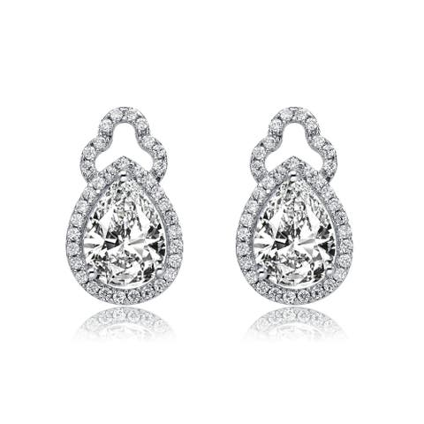 Collette Z Sterling Silver with Rhodium Plated Clear Pear and Round Cubic Zirconia Halo Open Post Drop Earrings