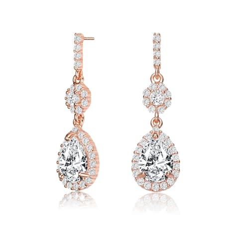 Collette Z Sterling Silver with Rose Gold Plated Clear Pear with Round Cubic Zirconia Halo and Cluster Accent Drop Earrings