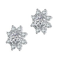 3be0a8f3f Collette Z Sterling Silver with Rhodium Plated Clear Round Cubic Zirconia  Halo Stud Earrings