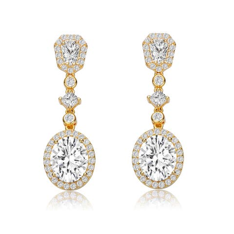 Collette Z Sterling Silver with Gold Plated Clear Oval with Princess and Round Cubic Zirconia Accent Long Drop Earrings