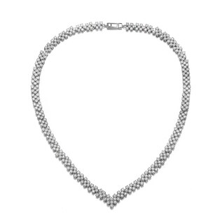 Collette Z Sterling Silver with Rhodium Plated Clear Princess Cubic Zirconia Three-Row Necklace