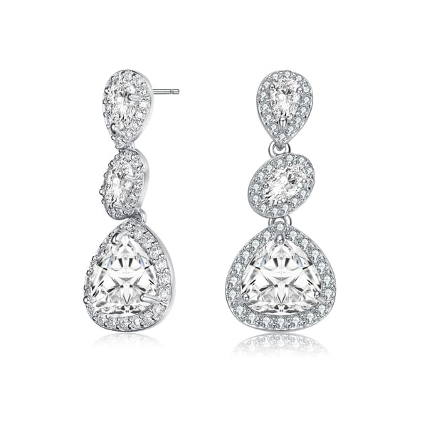 Collette Z Sterling Silver with Rhodium Plated Clear Pear and Oval with Round Cubic Zirconia Halo Three Tier Drop Earrings. Opens flyout.