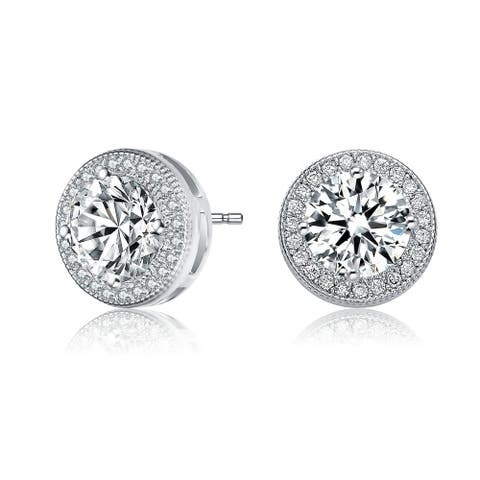 Collette Z Sterling Silver with Rhodium Plated Clear Round Cubic Zirconia Solitaire Halo Stud Earrings