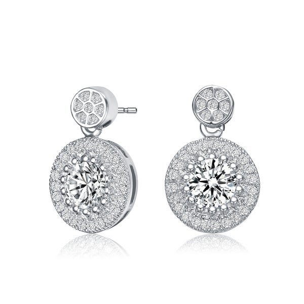 Collette Z Sterling Silver with Rhodium Plated Clear Round Cubic Zirconia Thick Halo Drop Earrings. Opens flyout.