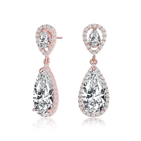Collette Z Sterling Silver with Rose Gold Plated Clear Pear with Round Cubic Zirconia Halo Two Tier Drop Earrings