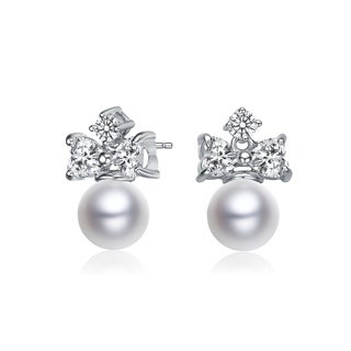 Collette Z Sterling Silver with Rhodium Plated White Round Freshwater Pearl with Clear Heart and Round Cubic Zirconia Earrings