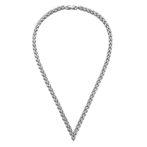 Collette Z Sterling Silver with Rhodium Plated Clear Marquise Cubic Zirconia Three-Row Necklace