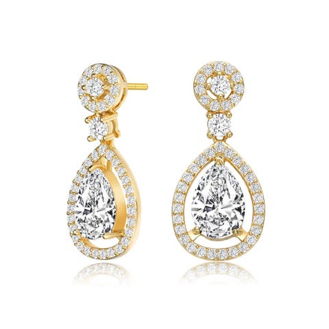 Collette Z Sterling Silver with Gold Plated Clear Pear with Round Cubic Zirconia Tier Drop Earrings