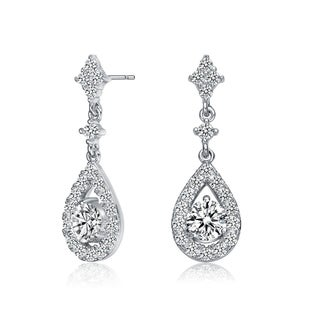 Link to Collette Z Sterling Silver with Rhodium Plated Clear Round Cubic Zirconia with Halo Pear Shape Drop Earrings Similar Items in Earrings