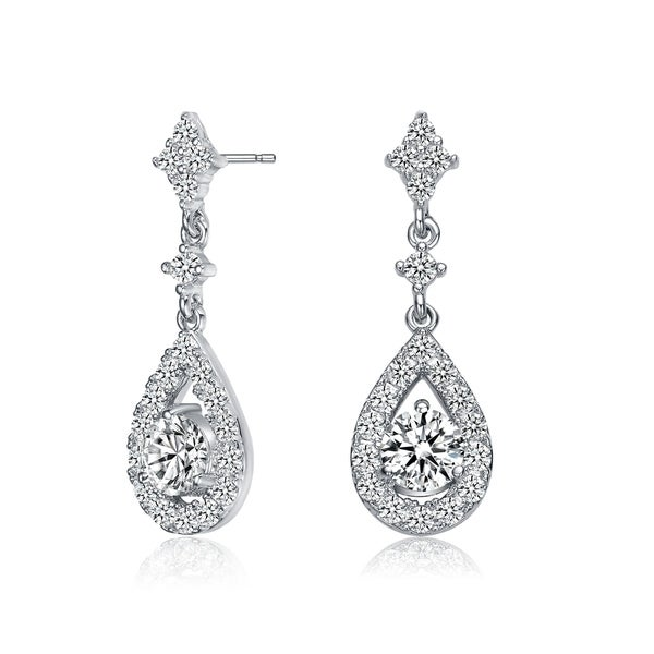 Collette Z Sterling Silver with Rhodium Plated Clear Round Cubic Zirconia with Halo Pear Shape Drop Earrings. Opens flyout.