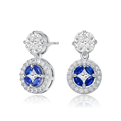 Collette Z Sterling Silver with Rhodium Plated Blue Marquise with Clear Princess and Round Cubic Zirconia Accent Drop Earrings