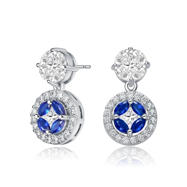 Collette Z Sterling Silver with Rhodium Plated Blue Marquise with Clear Princess and Round Cubic Zirconia Accent Drop Earrings. Opens flyout.