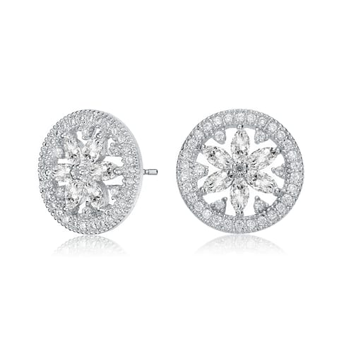 081d7e4a4 Collette Z Sterling Silver with Rhodium Plated Clear Marquise with Round  Cubic Zirconia Halo Wreath Earrings