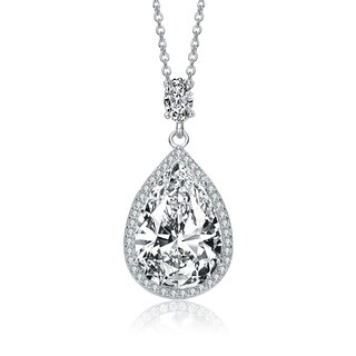 Collette Z Sterling Silver with Rhodium Plated Clear Pear with Oval and Round Cubic Zirconia Accent Drop Necklace