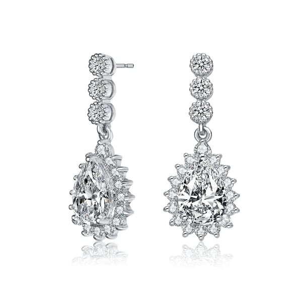 Collette Z Sterling Silver with Rhodium Plated Clear Pear and Round Cubic Zirconia Halo Drop Earrings. Opens flyout.