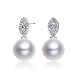 Collette Z Sterling Silver with Rhodium Plated White Round Freshwater Pearl with Clear Marquise Cubic Zirconia Drop Earrings