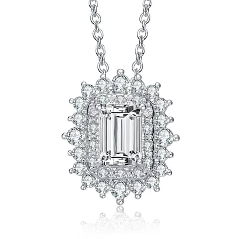 Collette Z Sterling Silver with Rhodium Plated Clear Emerald with Round Cubic Zirconia Double Halo Necklace