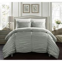 Chic Home Aurora 7 Piece Bed in a Bag Striped Ruched Comforter Set