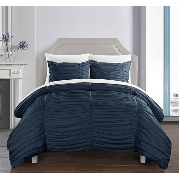 Shop Chic Home Aurora 7 Piece Bed In A Bag Striped Ruched