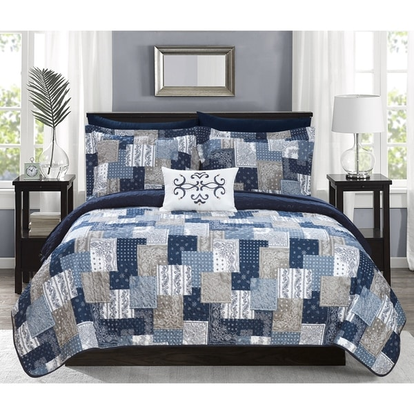 Chic Home Viona 8 Piece Reversible Bed in a Bag Quilt Coverlet Set