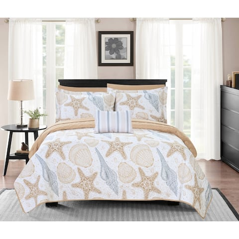 Chic Home Bastille 8 Piece Reversible Bed in a Bag Quilt Coverlet Set - Tan