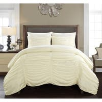 Chic Home Aurora 7 Piece Bed in a Bag Striped Ruched Comforter Set - Beige