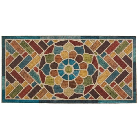 Mohawk Ornamental Woodblock Garden Entry Mat (2'x4') - 2' x 4'
