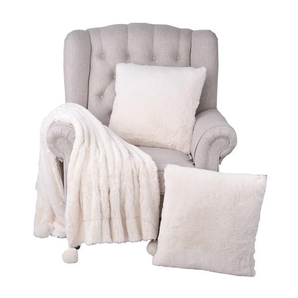 "BOON Pompom FauxFur Throw & 2 Pillow Combo Set - 50"" x 20"" & 20"" x 20"""