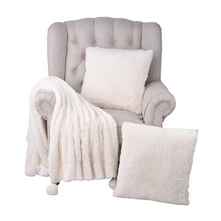 "BOON Pompom FauxFur Throw & 2 Pillow Combo Set - 50"" x 20"" & 20"" x 20"""