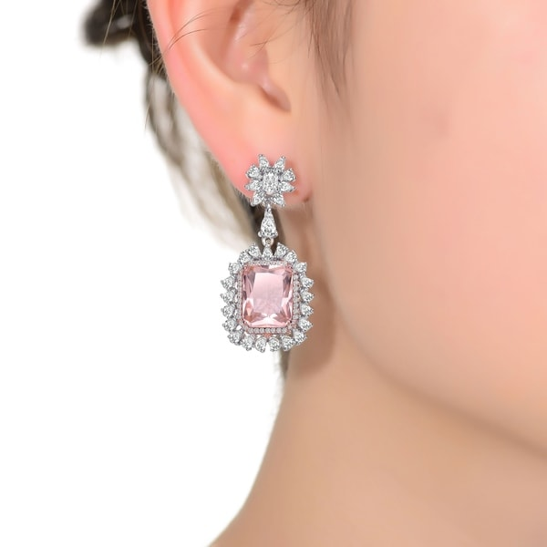 Collette Z Sterling Silver with Rhodium Plated Morganite Cushion with Clear Cubic Zirconia Halo Drop Earrings. Opens flyout.